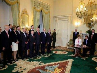 Ireland's new ministers receive their seals of office from President Mary McAleese last night