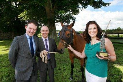 Equilume light mask for horses is 'One to Watch' Minister of State for Research & Innovation, Sean Sherlock TD (left) and Dr. Keith O'Neill, Enterprise Ireland with Dr Barbara Murphy