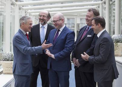 Minister Richard Bruton with (from left) Prof Brian MacCraith, president, Dublin City University, Minister of State Gerald Nash, Michael Brannick, CEO, Prometric and Martin Shanahan, CEO, IDA Ireland