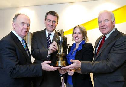 Frank O'Keeffe, Partner in Charge of the EoY Programme pictured with sponsors Liam Kavanagh, Irish Times, Terri O'Donnell, Invest NI and Tom Hayes, Enterprise Ireland
