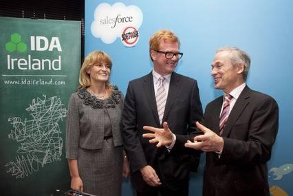Mary Buckley, executive vice-president IDA Ireland, Dr. Steve Garnett, chairman for Europe of Salesforce.com and Minister Richard Bruton.