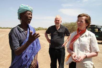 Pastoralist Jarso Ada speaking to Tom Arnold and Mary Robinson in Kenya