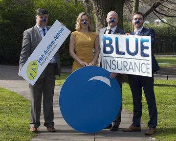 Kevin Whelan, CEO of Irish Autism Action, TV presenter Kathryn Thomas, Ciaran Mulligan, CEO of Blue Insurance and Ian Kennedy, Blue Insurance at the launch of Blue Nose Month