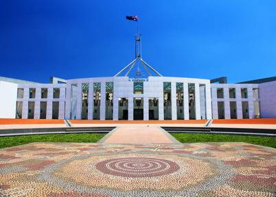 The parliament building in Canberra