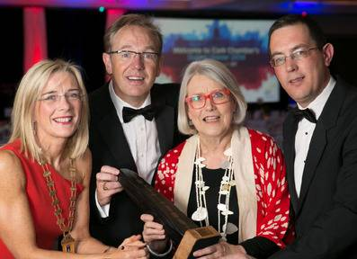 Gillian Keating, president of Cork Chamber, John Higgins, EY, Darina Allen and Conor Healy, CEO, Cork Chamber