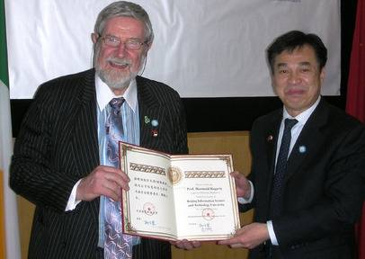 Diarmuid Hegarty at the recent awards ceremony with President of BITSU, LIU, Gonghui