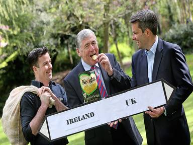 Minister of State at the Department of Agriculture, Food and the Marine Tom Hayes TD with Tom Keogh from Keogh's Crisps and John Paul O'Reilly, commercial director, Tesco Ireland