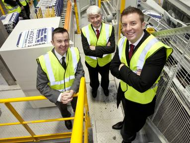 Minister Brian Hayes with John Newell, managing director, and Conor O'Riain, head of new markets and products, Ecocem Ireland