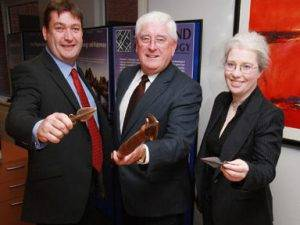 Batt O'Keeffe with Colm Moloney and Teresa Bolger