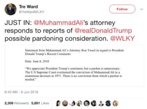 Donald Trump seeks to pardon Muhammad Ali